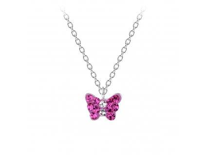 Stříbrný řetízek s fialkovým motýlkem  Ag 925/1000