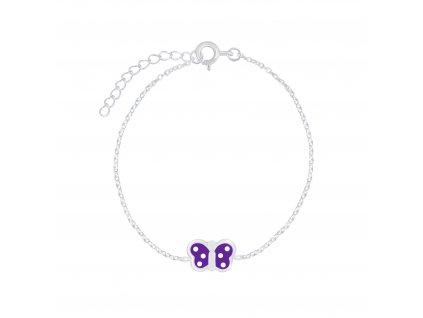 Stříbrný náramek s fialovým motýlkem  Ag 925/1000