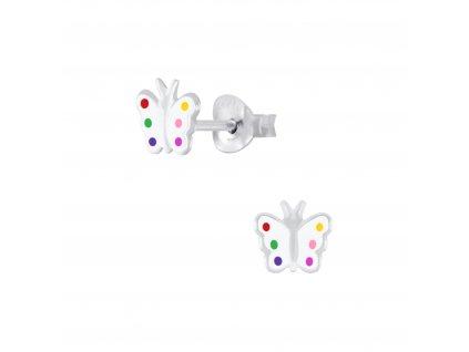 Dětské stříbrné náušnice motýlek s barevnými tečkami  Ag 925/1000