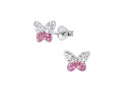 Dětské stříbrné náušnice s růžovo bílým motýlkem  Ag 925/1000