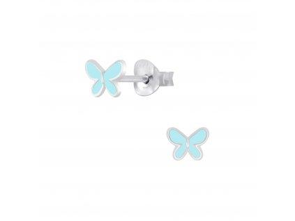 Dětské stříbrné náušnice motýlek Tyrkys  Ag 925/1000