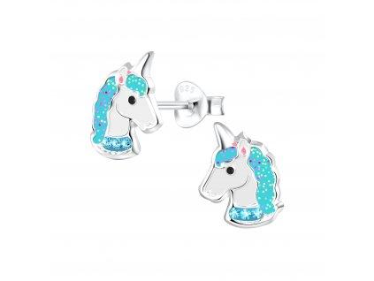 Dětské stříbrné náušnice jednorožec s modrými krystaly  Ag 925/1000