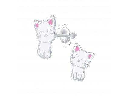 Dětské stříbrné náušnice kočička  Ag 925/1000