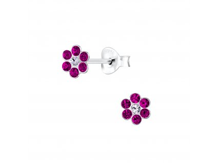 Dětské stříbrné náušnice růžová květinka  Ag 925/1000