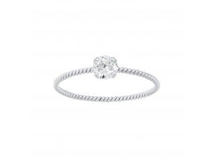 Stříbrný kroucený prstýnek se Zirkonem  Ag 925/1000