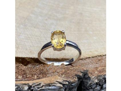 stříbrný prsten s Citrínem