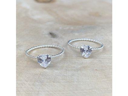 Stříbrný prstýnek Srdce Zirkon  Ag 925/1000