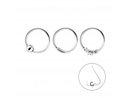 Stříbrný set piercingů IV - 3ks  Ag 925/1000