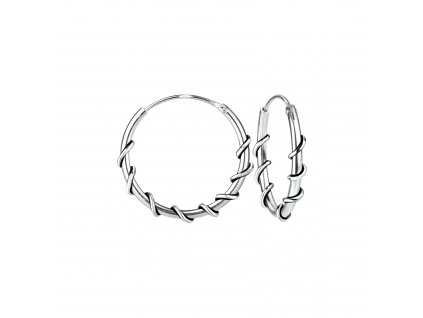 Stříbrné náušnice kruhy Bali 16 mm  Ag 925/1000