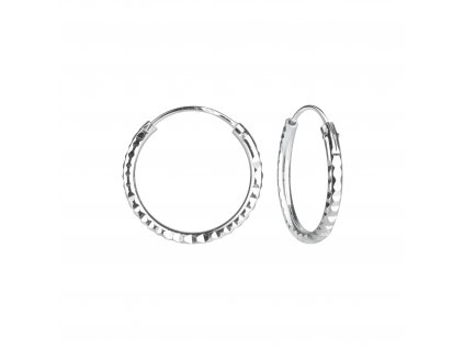 Stříbrné náušnice kruhy Diamond 16 mm  Ag 925/1000