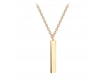 Rose Gold náhrdelník Bar 12 mm  Ag 925/1000