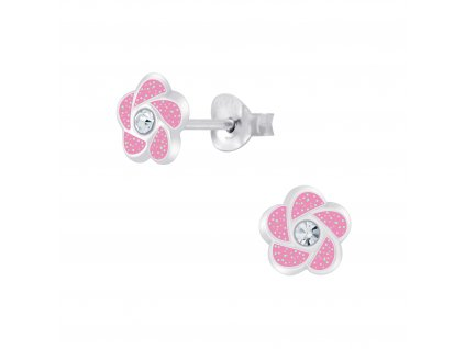 Dětské stříbrné náušnice růžová květinka s krystalem  Ag 925/1000