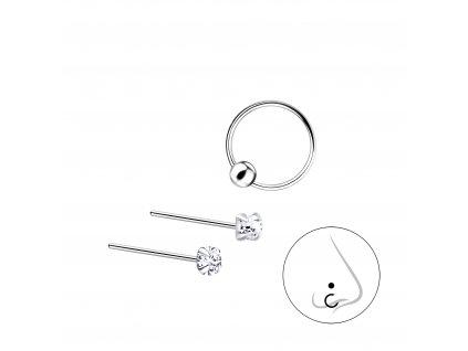 Stříbrný set piercingů VI - 3ks  Ag 925/1000