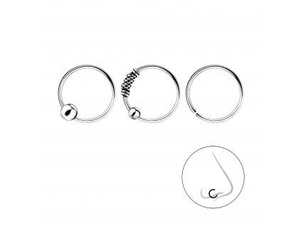 Stříbrný set piercingů 10 mm - 3ks  Ag 925/1000