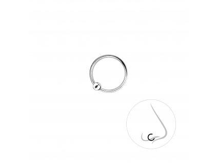 Stříbrný kroužek do nosu s kuličkou 9 mm  Ag 925/1000