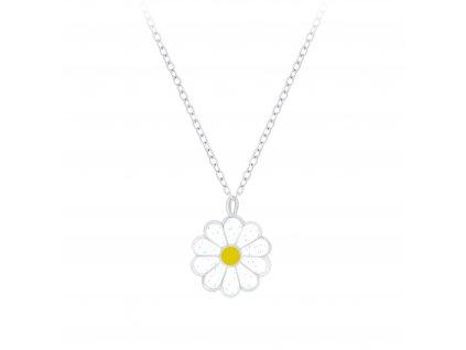 Dětský stříbrný řetízek bílá květinka  Ag 925/1000