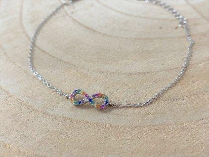 Stříbrný náramek Rainbow Nekonečno  Ag 925/1000