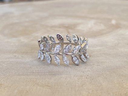 Stříbrný prstýnek Leaf se Zirkony  Ag 925/1000