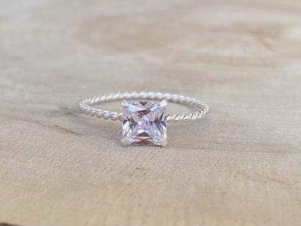 Stříbrný prstýnek Square Zirkon  Ag 925/1000