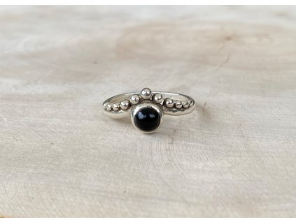Stříbrný prstýnek Boho Onyx  Ag 925/1000
