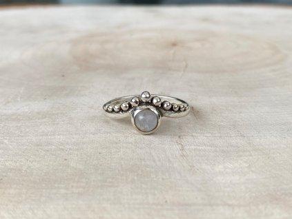 Stříbrný prstýnek Boho Měsíční Kámen  Ag 925/1000