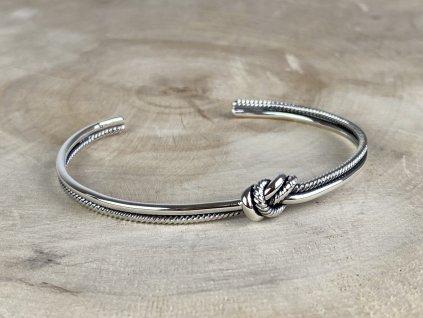 Stříbrný náramek Knot Cuff  Ag 925/1000