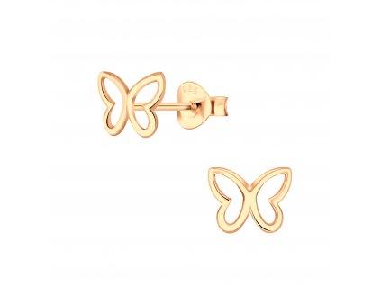 Rose Gold náušnice Motýl  Ag 925/1000