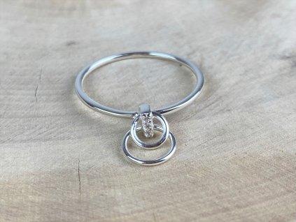 Stříbrný prstýnek Circle double se Zirkony  Ag 925/1000