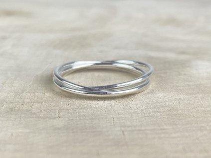 Stříbrný trojitý propojený prstýnek simple  Ag 925/1000