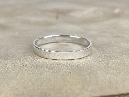 Stříbrný prsten pro muže hladký matný 3 mm  Ag 925/1000