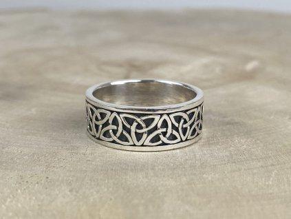 Stříbrný prsten pro muže Celtic oxidovaný 8 mm  Ag 925/1000