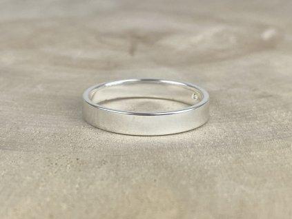 Stříbrný prsten pro muže hladký matný 4 mm  Ag 925/1000