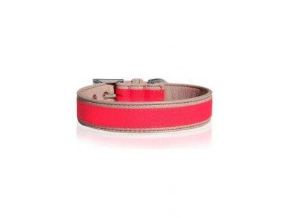 Obojek kožený Růžový neon 45cm/3cm 1ks M&P