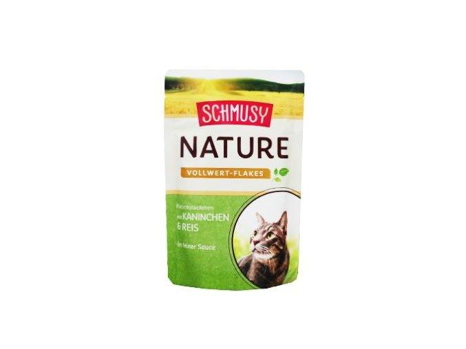 Schmusy Cat Nature Flakes kapsa králík+rýže+šťáv 100g