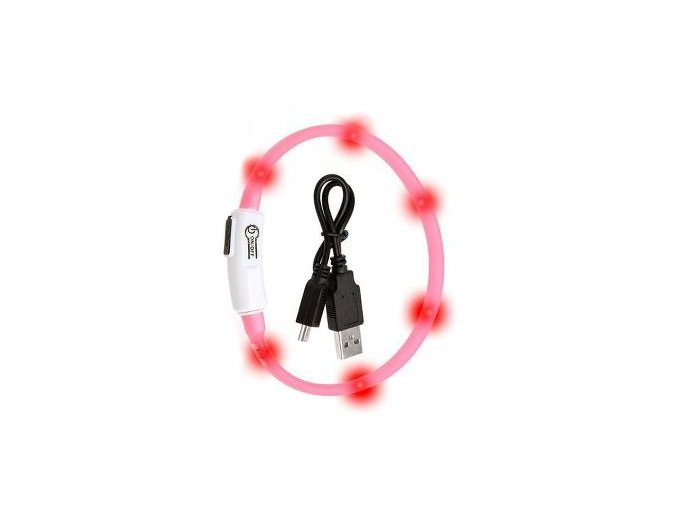 Obojek USB Visio Light 35cm růžový KAR