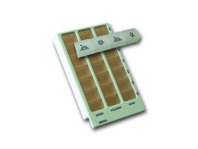 Dávkovač léků týdenní typ 02 sv.zelený+typ 04zd