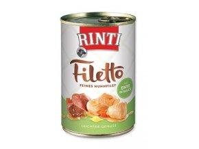 Rinti Dog Filetto konzerva kuře+kachna ve šťávě 420g