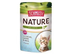 Schmusy Cat Nature Menu kapsa Junior losos+jehně 100g