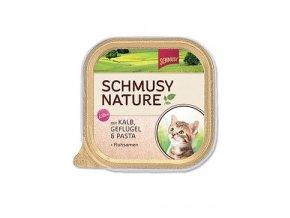 Schmusy Cat Nature Menu vanič Junior telec+drůbež 100g