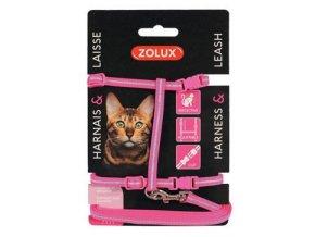 Postroj kočka s vodítkem 1,2m růžový Zolux