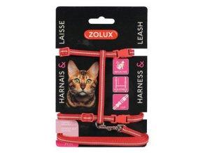 Postroj kočka s vodítkem 1,2m červený Zolux