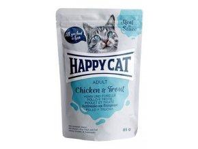 Happy Cat kapsa Meat in Sauce Adult Kuře a pstruh 85g