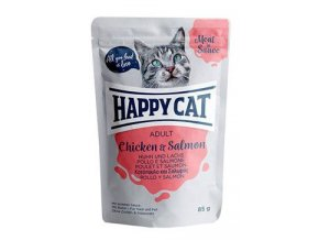Happy Cat kapsa Meat in Sauce Adult Kuře a losos 85g