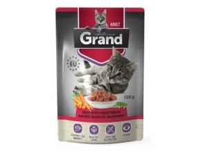 GRAND kaps. deluxe kočka 100% hovězí se zel.100g