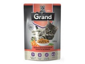 GRAND kaps. deluxe kočka 100% losos se zel.100g