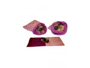 Spací pytel 3v1 srdíčka/fialová XL pes,kočka č.59