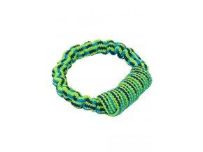 Hračka pes Bungee Kruh modrá/zelená 16cm