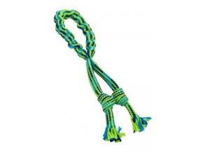 Hračka pes Bungee Smyčka s uzly modrá/zelená 35cm