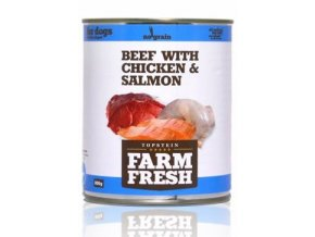Farm Fresh Dog Beef with Chicken&Salmon konzerva 800g