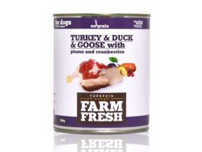 Farm Fresh Dog Turkey&Duck&Goose+Plums konzerva 800g